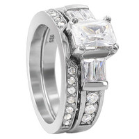 925 Sterling Silver Emerald Cut CZ 3mm and 2mm Plain Engagement Ring Wedding Band Set