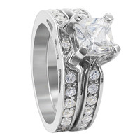 925 Sterling Silver 6mm Princess Cut CZ Engagement Ring Wedding Band Set