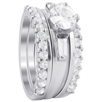925 Sterling Silver 6mm Round CZ Engagement Ring Wedding Band Set