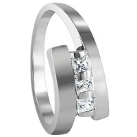 925 Sterling Silver Square Cut Cubic Zirconia 2mm Ring #TDRS165