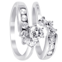 Sterling Silver Polished Finish CZ Floral Engagement Ring Wedding Band Set