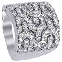 Rhodium Plated 925 Sterling Silver Polished Finish Cubic Zirconia Pave Setting Ring