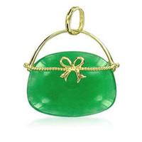 14k Yellow Gold and Green Soapstone Hand Bag Pendant