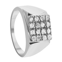 Mens Rhodium Plated 925 Sterling Silver Clear Cubic Zirconia 13mm Ring