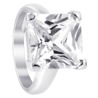 Rhodium Plated Sterling Silver Cubic Zirconia Princess cut Soltaire Ring