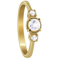 Gold over 925 Sterling Silver 5mm Round Clear Topaz Gemstone Vermeil Ring