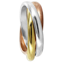 925 Sterling Silver Three-Tone Triple Band 3mm wide Rolling