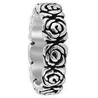 Sterling Silver Rose Flowers 6mm wide Band
