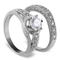 925 Sterling Silver Cubic Zirconia Engagement Ring Wedding Band Set #DSRS009