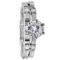 Rhodium Plated 925 Sterling Silver Round Cubic Zirconia Engagement Ring Wedding Band Set  #DSRS047