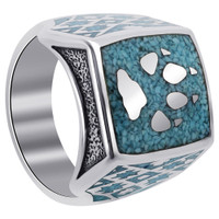 Men's Sterling Silver Turquoise Gemstone Wolf Paw Southwestern Style Ring #TBRS029