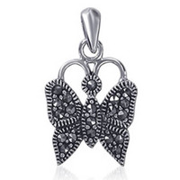 925 Sterling Silver Marcasite 25 x 12mm Butterfly Pendant