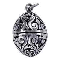 925 Sterling Silver Oval Shape Lovable Filigree Floral Design Charm Pendant