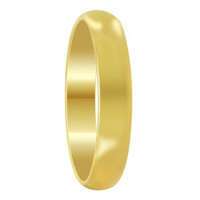 Stainless Steel Gold Plated Comfort Fit 4mm Wedding Band