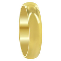 Mens Stainless Steel Gold Plated Comfort Fit 5mm Wedding Band
