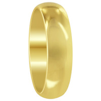 Mens Stainless Steel Gold Plated Comfort Fit 6mm Wedding Band