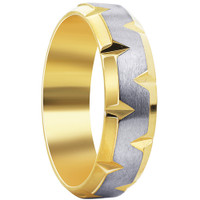 Stainless steel Gold IP Plated indented with Satin finish 6mm Band #DSSSR006