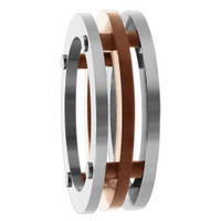 Stainless Steel Three Piece Connected Flat with Rose Gold IP Plated 7mm Band