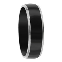 Stainless Steel Two Tone Black IP Plated Comfort fit 6mm Band #DSSSR033