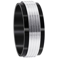 Stainless Steel Black IP Plated with Grey Stripes 9mm Band #DSSSR041
