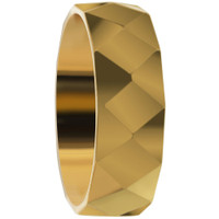 Stainless Steel Gold IP Plated Faceted Comfort Fit 6mm Band #DSSSR042