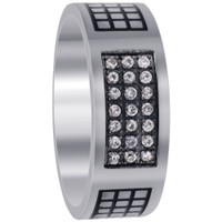 Stainless Steel Engraved Pave Set Clear Cubic Zirconia 8mm Band #DSSSR043