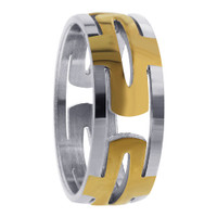 Stainless Steel 2 Tone IP Plated Hollow Encircle 8mm Ring #DSSSR045