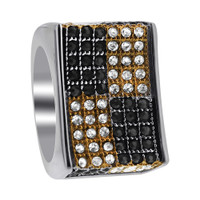 Stainless Steel Black Gold Checker Micro Pave Set Black and Clear Cubic Zirconia 8mm Ring