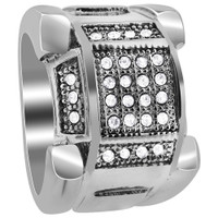 Stainless Steel Micro Pave Set Clear Cubic Zirconia 9mm Ring #DSSSR059
