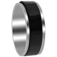 Stainless Steel 2 Tone with Black IP Plated 8mm Comfort fit Band #DSSSR060