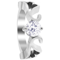 Stainless Steel Heart Swirl Design with Cubic Zirconia Ring #DSSSR066