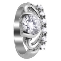 Stainless Steel Tiara Crown Design Cubic Zirconia Accents Ring #DSSSR072