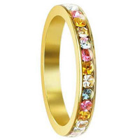 Gold Tone Stainless Steel Multi Cubic Zirconia 3mm Eternity Band #LWSSR033