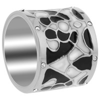 Stainless Steel Black and White Enamel with Clear Cubic Zirconia 16mm Band