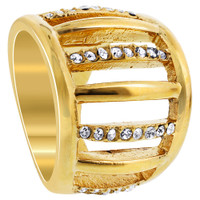 Stainless Steel Gold Tone Clear Cubic Zirconia Ring #TSSSR025