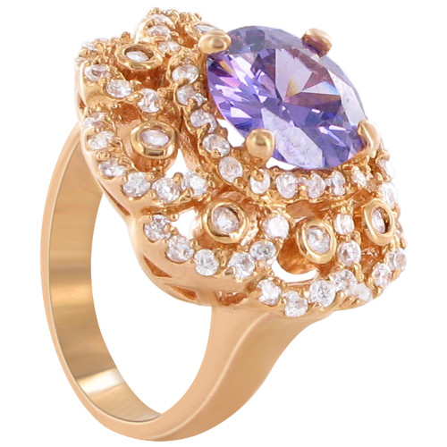 Rose Gold Round Shape Amethyst Cubic Zirconia 3mm Flower Design Ring Size 6 to 6.5