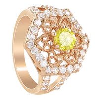 Rose Gold Layered Citrine Cubic Zirconia Hexagon Ring Size 5.5 to 7