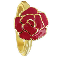 Gold Plated Silver 13mm Rose Flower Red Enamel 3mm Ring