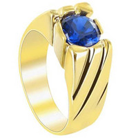 18k Gold Layered Blue Cubic Zirconia 8mm Round Ring #HORG002
