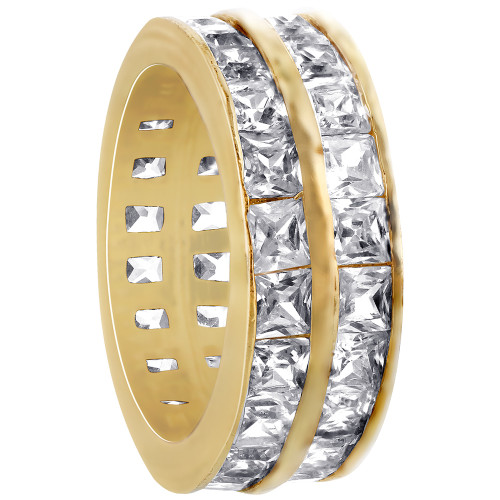 18k Gold Layered Clear Cubic Zirconia Dual 8mm Eternity Band