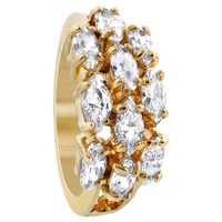 18k Gold Layered Marquise Shape 9 x 19mm Front Clear CZ Design Polished Finish Ring #HORG005