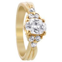 18k Gold Layered Clear Cubic Zirconia 14 x 7mm Oval with Accents Ring
