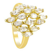 18k Gold Layered Clear Cubic Zirconia Marquise Shape 18 x 14mm Front Design Ring #HORG008