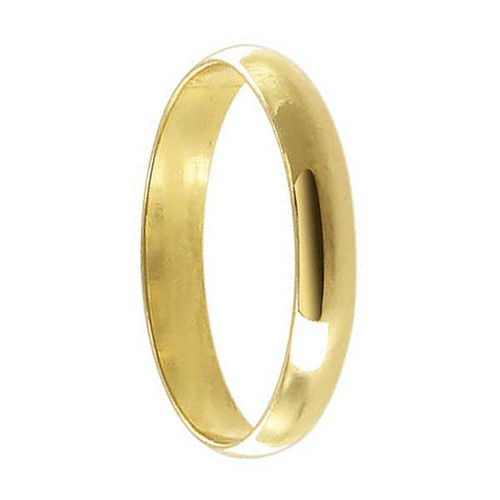 18k Gold Layered 3mm Wide Wedding Band