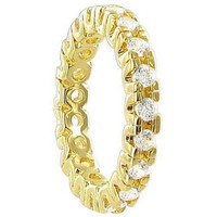 18k Gold Layered Clear Cubic Zirconia Round 3mm Wide Eternity Band #HORG016