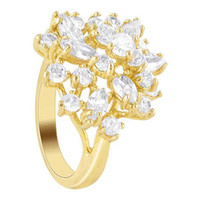 18k Gold Layered Clear Cubic Zirconia Studded Accented Designer Ring #HORG021