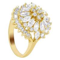 18k Gold Layered Clear Cubic Zirconia Marquise Shape Studded Accent Ring