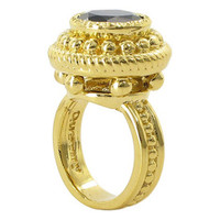 18k Gold over Sterling Silver Round 12mm Black Onyx Vermeil Ornate Design Ring