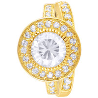 Gold Plated Round Clear CZ Halo Pave Engagement Ring #RURG004