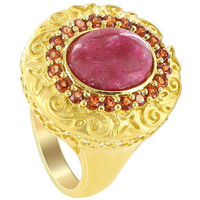 Gold over Sterling Silver Oval Dyed Ruby and Garnet Gemstones Vermeil Ring